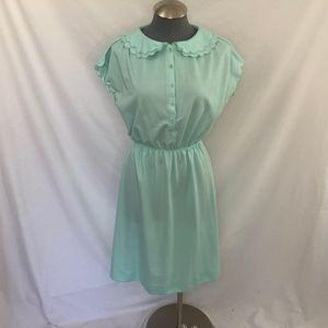 Leslie Fay Women's Vintage Blue shirt collar Dress
